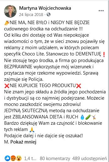 Martyna Wojciechowska o ChocoLite